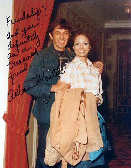My friend Arlene Martel, the wonderful actress who played Spock's wife T'Pring, gave me this great photo of her leaving the studios where she ran into Nimoy and someone took this great photo.