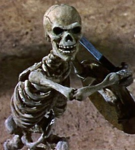 Fighting skelton from Ray Harryhausen's, Jason and the Argonauts.