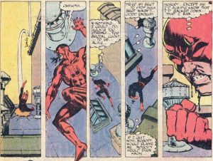 Never give up. Daredevil with art by Frank Miller and story by Roger McKenzie